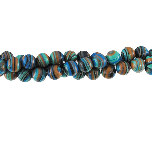 GM-0026 -6mm Blue/Brown Synthetic Calsilica Gemstone Bead Strand | 1 Strand