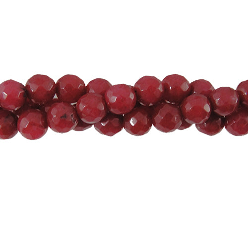 "GM-0086 - 6mm Faceted Jade Gemstone Bead Strand,Cranberry | 16"" Str"