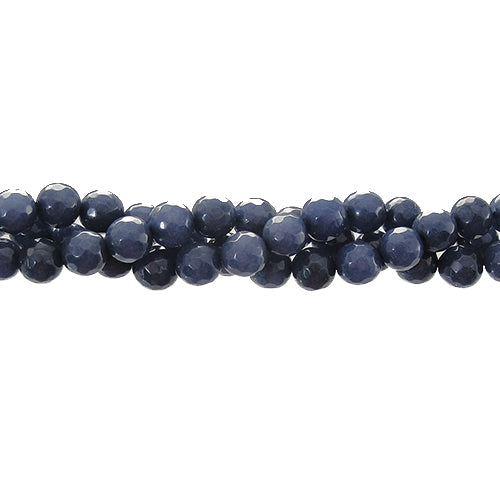 "GEM-06116 - 6mm Faceted Jade Gemstone Bead Strand,Indigo Blue  | 16"" Str"
