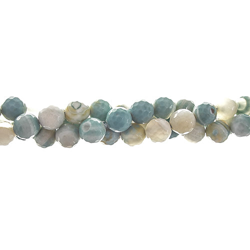 GM-0333 - 4mm Ocean Green Faceted Agate Gemstones | Pkg 1 Strand