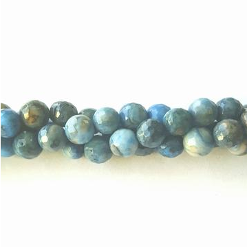 GM-0525 - 4mm Faceted Blue Crazy Lace Agate Gemstone Beads | Pkg 1 Strand
