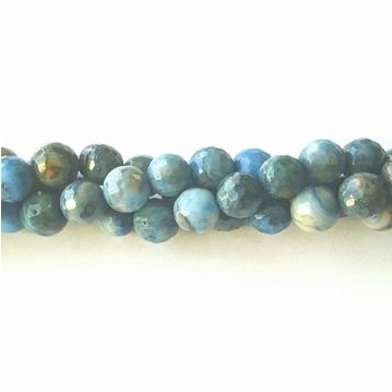 GM-0524 - 6mm Faceted Blue Crazy Lace Agate Gemstone Beads | Pkg 1 Strand