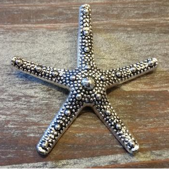 AB-1039 - Antique Silver Starfish Pendant, 58mm | Pkg 1