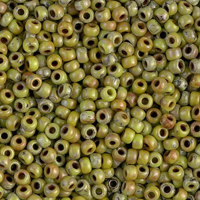 8-4515 - 8/0 Op Chartreuse Picasso Miyuki Seed Bead | 25 Grams