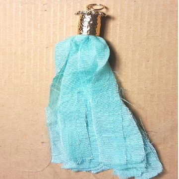 AB-0402 - Silk Tassle With Hammered Gold End Cap,Turquoise,5 and 1/2"