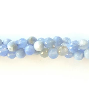 GM-508 - 6mm Faceted Agate Gemstone Strand, Antique Cornflower Blue | Pkg 1 Strand