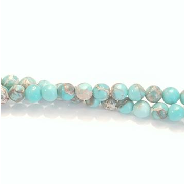 "GM-2025 - Turquoise Blue 4mm Round Variscite Gemstone Beads | 16"" Strand"