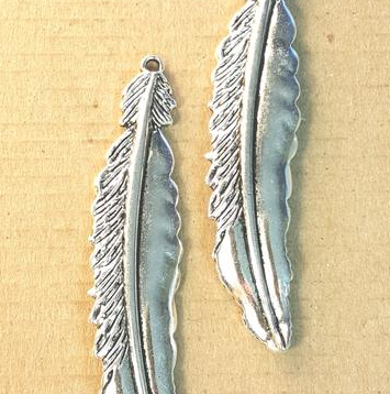 AB-0177 - Antique Silver Pewter Large Feather Pendant, 17x74mm | Pkg 2