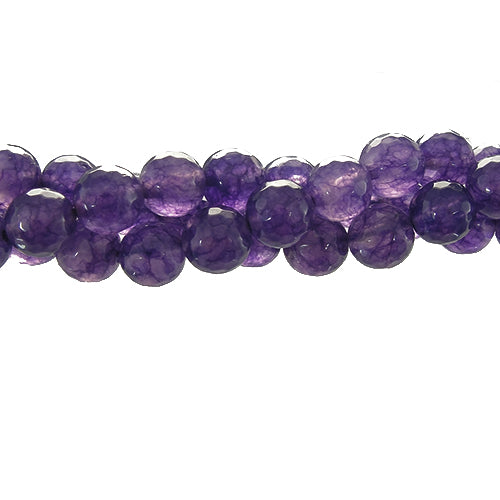 "GM-0091 - 8mm Amethyst Jade Round Faceted Gemstone Bead Strand | 16"" Str"