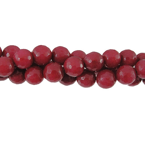 "GM-0056 - 8mm Faceted Jade Gemstone Bead Strand, Cranberry  | 16"" Str"