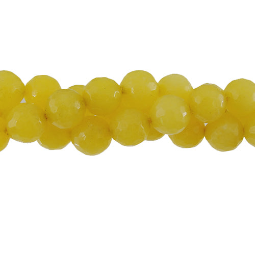 "GM-0059 - 8mm Faceted Jade Gemstone Bead Strand,Golden Yellow  | 16"" Str"