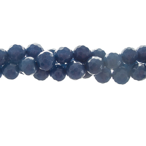 "GM-0090 - 8mm Faceted Jade Gemstone Bead Strand,Indigo Blue | 16"" Str"