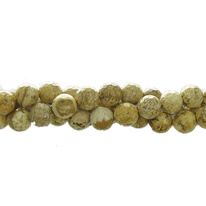 "GM-0146 - 8mm Faceted Picture Jasper Round Gemstone Bead Strand  | 16"" Str"