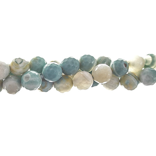GM-0017 -8mm Ocean Green Faceted Agate Gemstone Beads | 1 Strand
