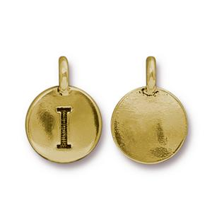 94-240I-26 - TierraCast Antique Gold Letter Charm, I | Pkg 2