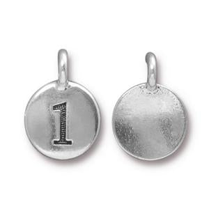 94-2431-12 - TierraCast Pewter Number Charm, 1, Antique Silver | Pkg 2