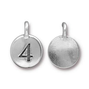 94-2434-12 - TierraCast Pewter Number Charm, 4, Antique Silver | Pkg 2