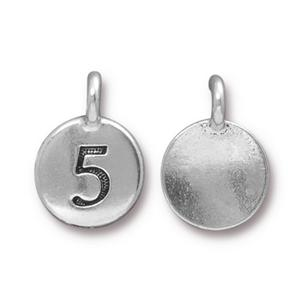94-2435-12 - TierraCast Pewter Number Charm, 5, Antique Silver | Pkg 2