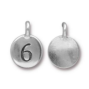 94-2436-12 - TierraCast Pewter Number Charm, 6, Antique Silver | Pkg 2