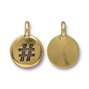 94-2452-26 - TierraCast Hashtag Charm, Antique Gold | Pkg 2