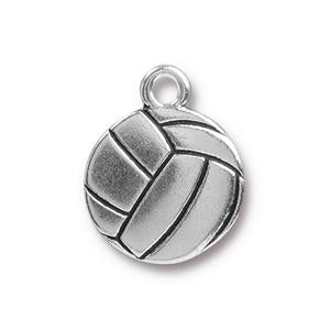 94-2464-12 - Charm, Volleyball, Silver Plated, Ink Antiqued  | Pkg 2