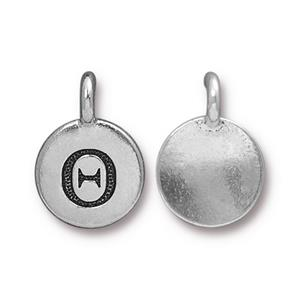 94-2482-12 - Pewter Charm, Theta,   Silver Plate | Pkg 2