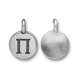 94-2485-12 - Pewter Charm, Pi, Silver Plate | Pkg 2