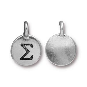 94-2486-12 - Pewter Charm, Sigma, Silver Plate | Pkg 2