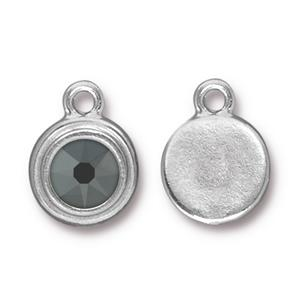 94-6755-14 - TierraCast Drop, SS34 Stepped Bezel, Rhodium Plated, Jet Hematite | Pkg 1
