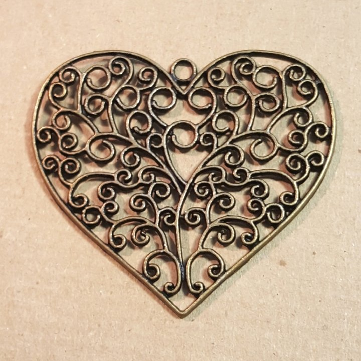 AB-0432 - Antique Brass Pewter Flat Filigree Heart Pendant,64mm | Pkg 1