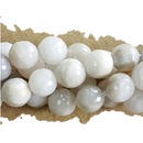 "GM-0652 - 8mm Faceted White Lace Agate Gemstone Beads | 16"" Strand"