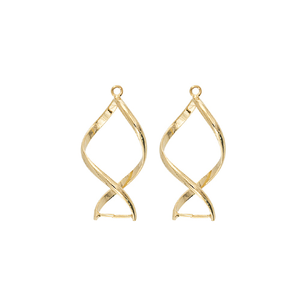 AB010GP - 32mm Gold Plated Twisted Add A Bead Earring Finding | Pkg 1 Pair
