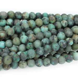 "GM-0600 - African Turquoise Matte 4mm Round Gemstone Beads | 16"" Strand"