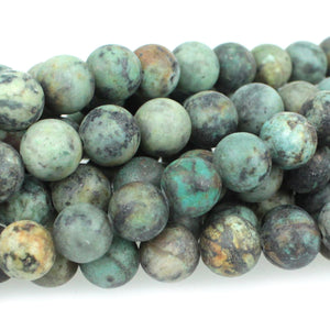 GM-0713 - 8mm Matte African Turquoise Gemstone Bead Strand | Pkg 1