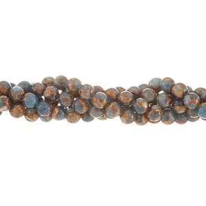 GM-0007 - 6mm Blue/Brown Agate Round Gemstone Bead Strand | 1 Strand