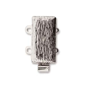CLSP162SP - Clasp Textured Multi Strand- 2 Hole Silver Plate