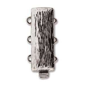 CLSP163SP - Clasp Textured Multi Strand- 3 Hole Silver Plate | Pkg 1