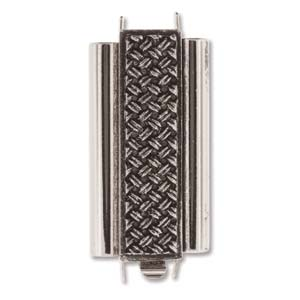CLSP207AS-30 - Antique Silver Beadslide Cross Hatch Clasp, 10x24mm | Pkg 1