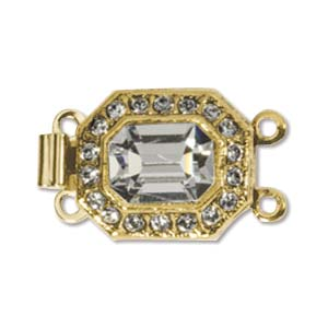 CLSP34GP - Gold Plate He x  Clasp 22 x 12mm 2 Strnd w/Crystal | Pkg 1