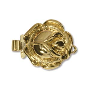 CLSP36GP - Gold Plate Rose Clasp 22 x 14mm 1 Strnd | Pkg 1