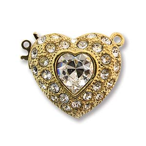 CLSP430GP - Gold 22mm 1 Strand Clasp Heart w/ Crystal | Pkg 1
