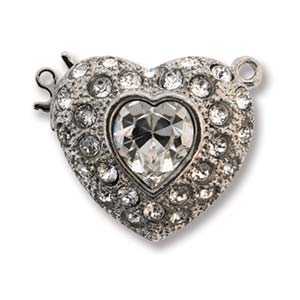 CLSP430SP - Rhodium 22mm 1 Str Clasp Heart w/ Crystal | Pkg 1