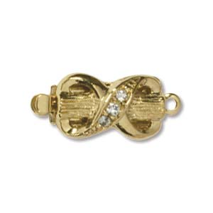CLSP44GP - Gold Plate Bow Clasp 17 x 8mm 1 Strnd w/Crystal | Pkg 1