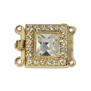 CLSP59GP - Gold Plate Square Clasp 14 x 14mm 2 Strnd w/Crystal | Pkg 1