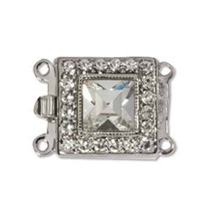 CLSP59SP - Silver Plate Square Clasp 14 x 14mm 2 Strnd w/Crystal | Pkg 1