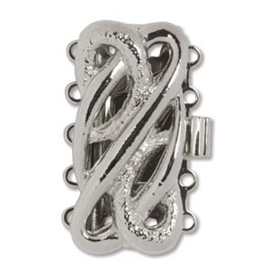 CLSP99SP - Silver Plate Clasp 25 x 12mm 5 Strnd Smooth & Diamond Cut | Pkg 1