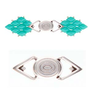 Cymbals, Gyalos-Gemduo Magnetic Clasp , Ant. Silver Plate | Pkg 1