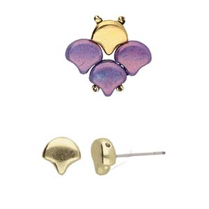 Cymbals, Alopronia-Ginko Earring , Ant. Brass Plate | Pkg 2