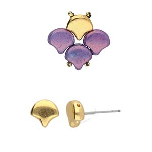 Cymbals, Alopronia-Ginko Earring , 24K Gold Plate | Pkg 2