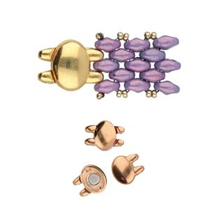 Cymbals, Kypri-Superduo Magnetic Clasp , Rose Gold Plate | Pkg 1